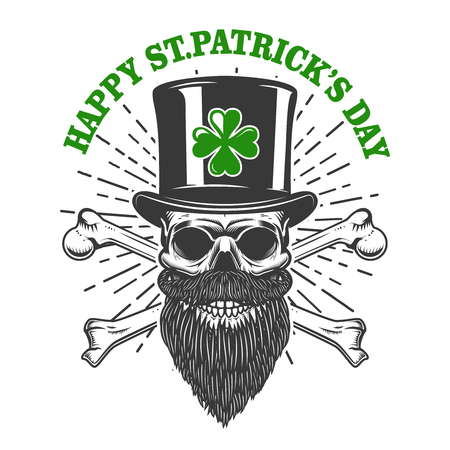 Happy saint patrick day. Irish Leprechaun skull with clover. Design element for poster, t-shirt, emblem, sign. Vector illustration Ilustracja