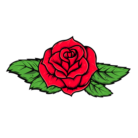 cartoon rose illustration isolated on white background. Vector design element