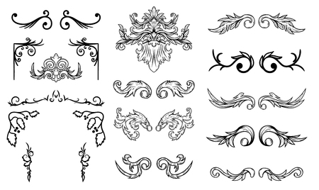 Set of vintage flourish design elements. Design elements for poster, emblem,card. Vector illustration