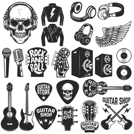 Set of the rock music design elements. Guitar shop. Design elements for logo, label, emblem, sign, poster. Vector illustration Vettoriali