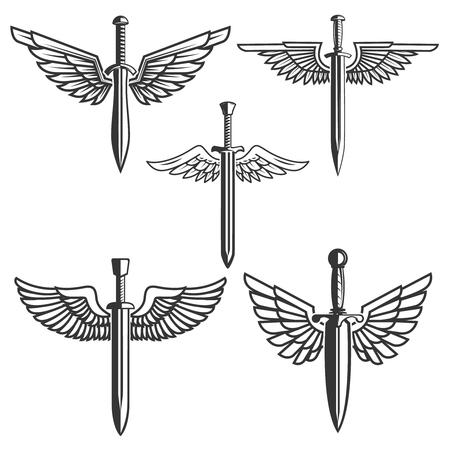 翼と剣のセット。ロゴ、ラベル、紋章、記号の要素をデザインします。ベクトル図