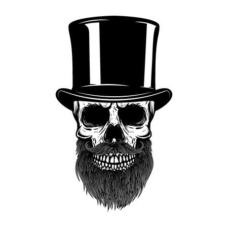レトロな帽子で髭のある頭蓋骨。紳士クラブ。T シャツ、ポスター、紋章、記号の要素をデザインします。ベクトル図
