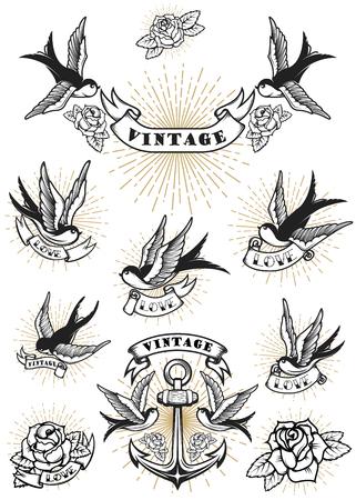 ツバメのタトゥーのセットです。ビンテージのアンカーとバラ。ロゴ、ラベル、紋章、記号の要素をデザインします。ベクトル図  イラスト・ベクター素材