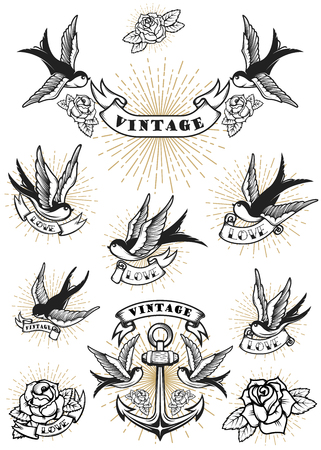 Set of swallow tattoo. Vintage anchor and roses. Design element for logo, label, emblem, sign. Vector illustration