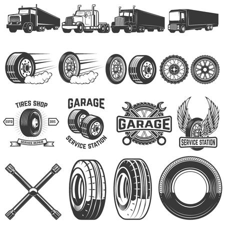 タイヤ サービス デザイン要素をセットします。トラックのイラスト、ホイール。ロゴ、ラベル、紋章、記号の要素をデザインします。ベクトル図