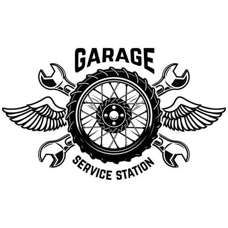 Service station emblem template. Car wheel with wings. Design elements for emblem, sign, poster. Vector illustration