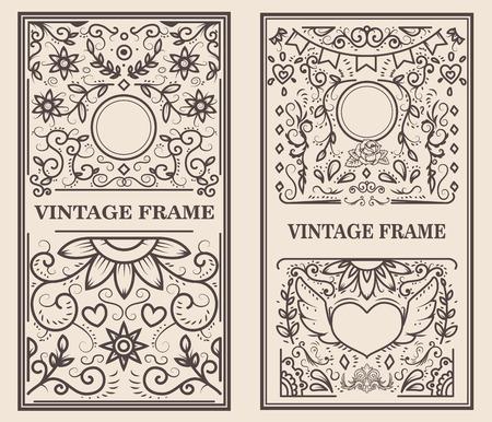 Vintage frame on light background. Vector design element Çizim
