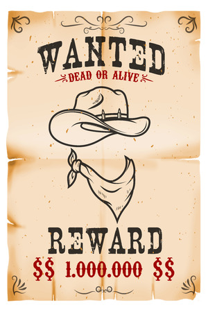 Vintage wanted poster template with old paper texture background. Wild west theme. Vector illustration Фото со стока - 90216027