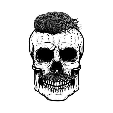 Zombie skull illustration isolated on white background. Design element for poster, emblem, t shirt. Vector illustration