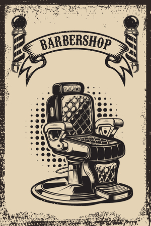 Barber shop. Barber chair on grunge background. Design element for poster, emblem, label, t shirt. Vector illustration Vettoriali