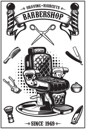 Cartel de barbería con silla de barbero, herramientas de corte de pelo. Elementos de diseño para el cartel, emblema. Ilustración vectorial