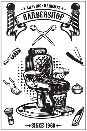 Poster da barbiere con poltrona da barbiere, strumenti per il taglio di capelli. Elementi di design per poster, emblema. Illustrazione vettoriale
