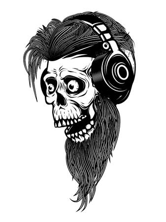 수염을 가진 좀비 머리와 헤드폰. 로고, 레이블, 엠 블 럼, 기호 디자인 요소입니다. 벡터 일러스트 레이 션