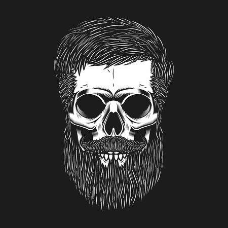 Bearded skull on dark background. Design element for poster, emblem, t shirt. Vector illustration