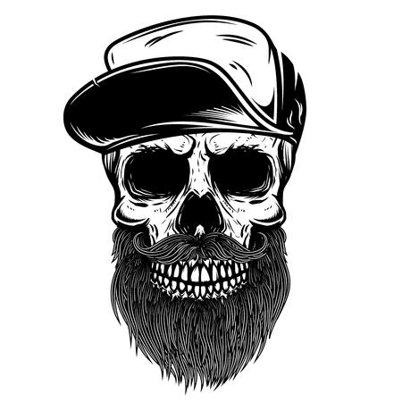 Bebaarde schedel in baseball cap. Ontwerpelement voor t-shirt, poster, embleem, teken. Vector illustratie