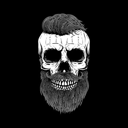 暗い背景にひげを生やした頭蓋骨。ポスター、ワッペン、t シャツのデザイン要素です。ベクトル図