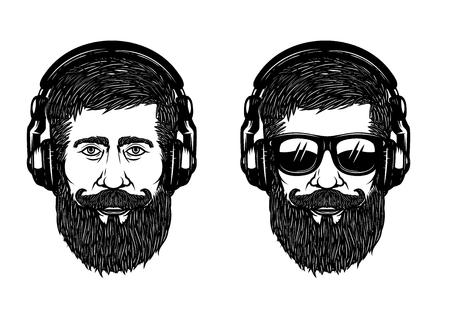Bearded man face with sun glases and headphones. Design element for poster, emblem, label, t shirt. Vector illustration