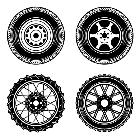 Set of car and motorcycle wheels icons. Design element for logo, label, emblem, sign. Vector illustration