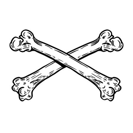 Crossbones isolated on white background. Design element for emblem, badge, sign. Vector illustration