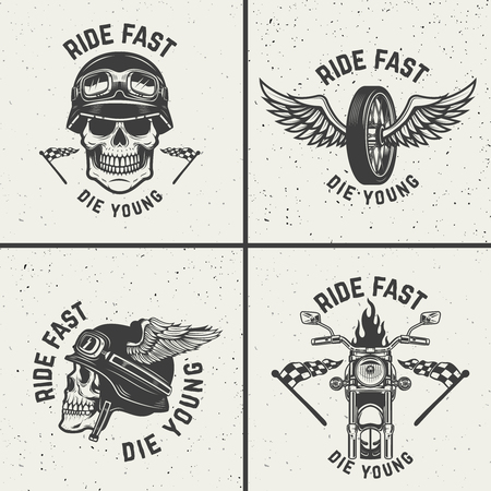 Set of biker emblems. Racer skulls, winged wheels. Design elements for logo, label, emblem, sign. Vector illustration Vettoriali