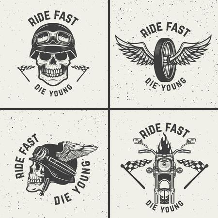 Set of biker emblems. Racer skulls, winged wheels. Design elements for logo, label, emblem, sign. Vector illustration Illustration