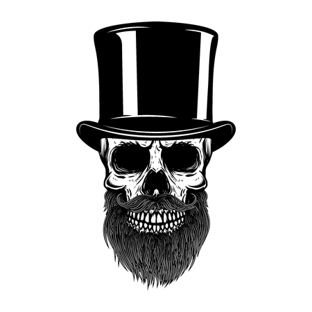 Bearded skull in retro hat. Gentleman club. Design element for t shirt, poster, emblem, sign. Vector illustration