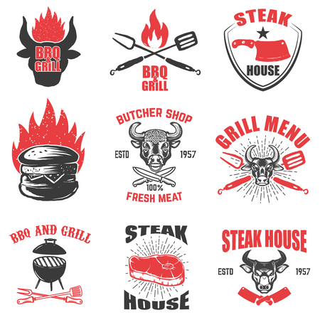 Set of steak house emblems on white background. Design element for logo, label, emblem, sign. Vector illustration