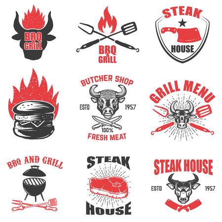 Set of steak house emblems on white background. Design element for logo, label, emblem, sign. Vector illustration