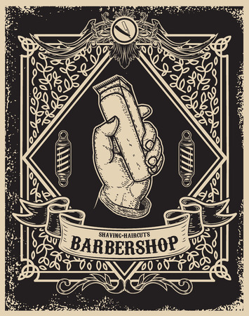 barber shop poster template. Human hand with hair clipper. Design element for card, banner, flyer. Vector illustration