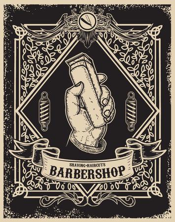 modèle d'affiche de boutique de coiffeur. Main de l'homme avec une tondeuse à cheveux. Élément de design pour carte, bannière, flyer. Illustration vectorielle
