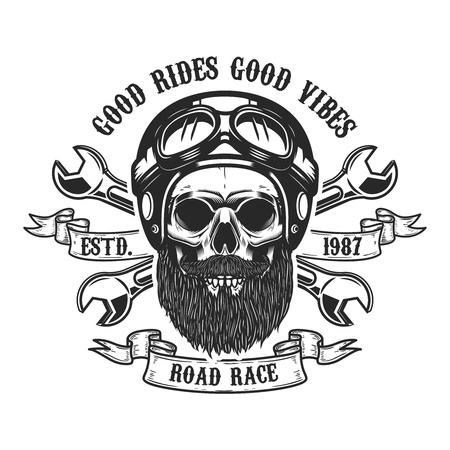 Racer skull in helmet. Design element for emblem, sign, label, poster. Vector illustration