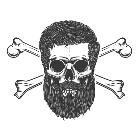 A bearded skull with crossbones. Design element for emblem, sign, label, poster. Vector illustration