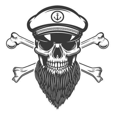bearded sea captain skull with crossbones. Design element for emblem, sign, label, poster. Vector illustration Illustration