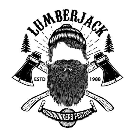 Lumberjack. Woodworkers festival poster template. Design element for emblem, sign, label, poster. Vector illustration