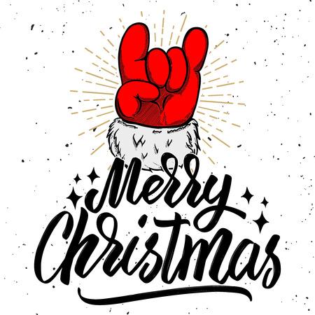 Feliz Natal. Papai Noel mão com sinal de rock and roll. Elemento de design para cartaz, cartão, banner. Ilustração vetorial Foto de archivo - 91004602