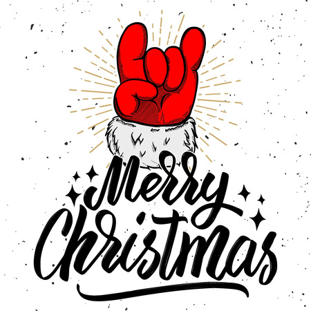 Merry christmas. Santa Claus hand with rock and roll sign. Design element for poster, card, banner. Vector illustration