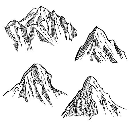Set of mountain sketches. Design element for emblem, sign, label, poster. Vector illustration