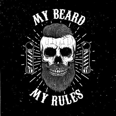 理髪店エンブレム テンプレート。口ひげと流行に敏感な頭蓋骨。ポスター、カード、バナーのデザイン要素です。ベクトル図  イラスト・ベクター素材
