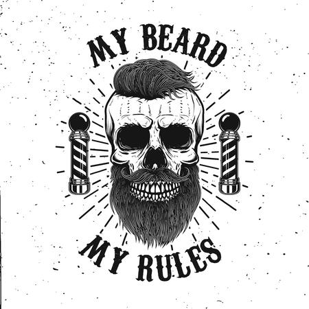 Barbershop emblem template. Hipster skull with mustache. Design element for poster, card, banner. Vector illustration