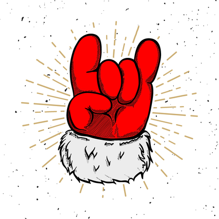 Santa claus hand with rock and roll sign. Design element for poster, banner, greeting card. Vector illustration Иллюстрация