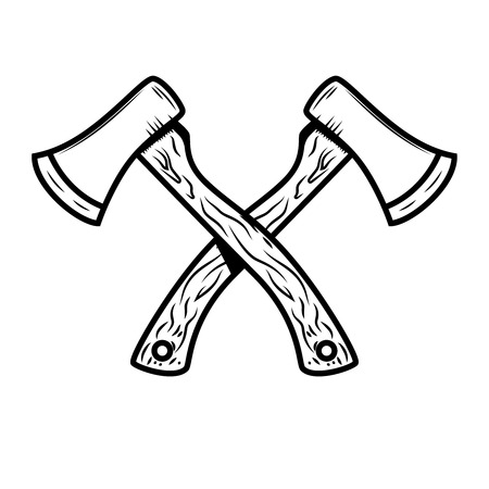 Crossed lumberjack axes isolated on white background. Design element for poster, emblem, sign, banner. Vector illustration