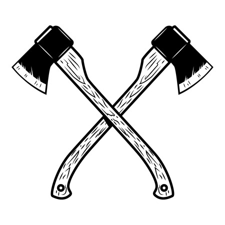 Axes de bûcheron croisés isolés sur fond blanc. Élément de design pour affiche, emblème, signe, bannière. Illustration vectorielle Banque d'images - 91339317