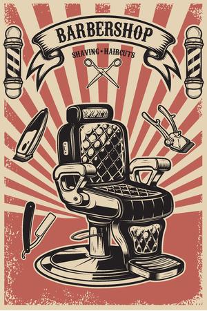 Kapperszaak. Kappersstoel op grungeachtergrond. Ontwerpelement voor poster, embleem, label, t-shirt. Vector illustratie