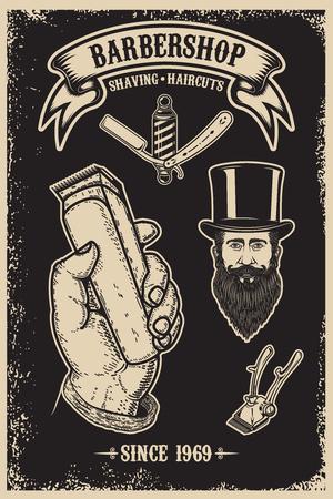 Barber shop vintage poster template. Design element for poster, emblem, sign, t shirt. Vector illustration