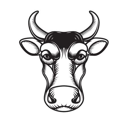 Cow head illustration isolated on white background. Design element for emblem, sign, poster, label. Vector illustration