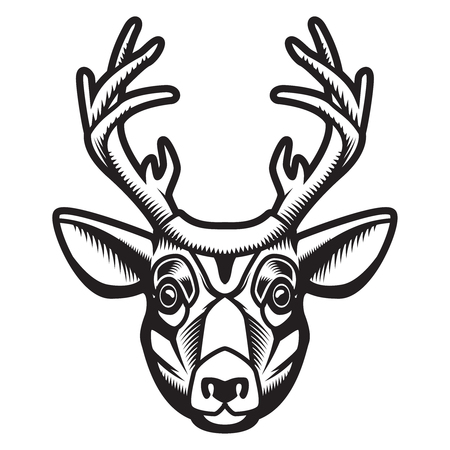 Deer head illustration isolated on white background. Design element for emblem, sign, poster, label. Vector illustration Stock Vector - 91337944