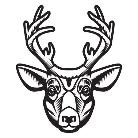 Deer head illustration isolated on white background. Design element for emblem, sign, poster, label. Vector illustration Illustration