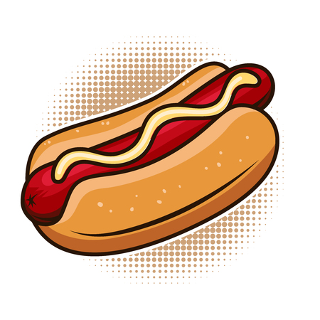 Hot dog illustration isolated on white background. Design element for poster, emblem, sign, menu. Vector illustration