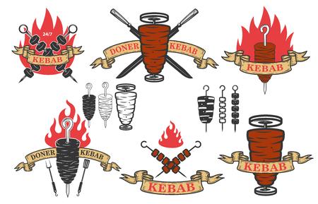 ドナーケバブエンブレムのセット。ロゴ、ラベル、エンブレム、記号のデザイン要素。ベクトルイラスト