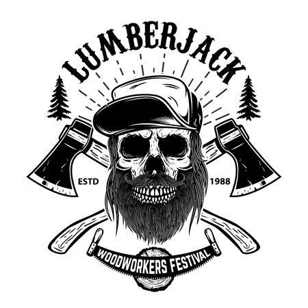 Lumberjack skull. Woodworkers festival poster template. Design element for emblem, sign, label, poster. Vector illustration
